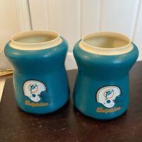 (2) MIAMI DOLPHINS NFL Vintage Tuffoams Koozie Beer Soda Can Cooler Coosie