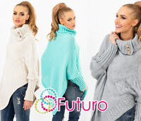 Women's Thick Heavy Poncho Jersey Turtleneck Warm Jumper Sweater Size 8-14 FAS9X
