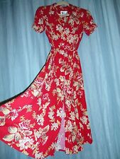 VTG 1980 duz 1940 vibe red floral rayon dress Sheri Martin 10P pearl bttns 186