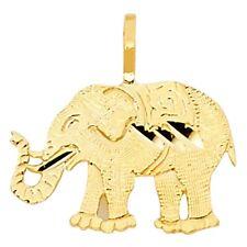 14K Yellow Gold Elephant Pendant Charm