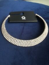 Rhinestone Necklace Collar Choker 5 rows GbyGuess, Brand New silver-tone Stunner