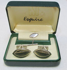 Vintage Esquire Cuff Links Tie Tack Stud Chain Silver Toned Metal Boxed Set of 3