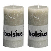 """Pack 2 Bolsius Rustic Slate Grey Stone 130mm 13cm 5"""" Pillar Candle 43 Hours"""
