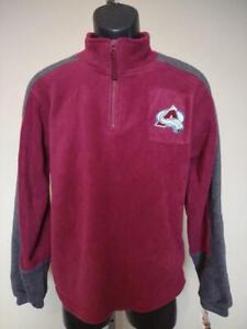 New Colorado Avalanche Youth Size L Large 14/16 Maroon 1/4 Zip Fleece Pullover