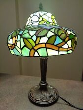 TIFFANY Style stained glass table lamp floral green/aqua lotus shaped