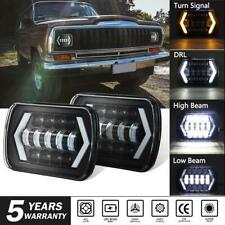Pair 7X6 LED Headlights Halo DRL For Dodge W250 D350 Ram 81-93 Dodge Ramcharger