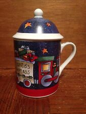 SANTA'S EXPRESS Gift Train Mug with lid by Gillian Webster (20160303c)