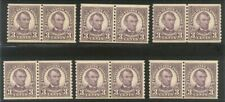 U.S. #600 Mint NH Pair (x6) - 1923 3c Violet, Rotary Coil ($132)