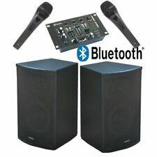 "SISTEMA AUDIO AMPLIFICATO 900W : 2 casse 10"" bluetooth + 1 mixer + 2 microfoni +"