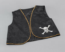 PIRATE WAISTCOAT #DISTRESSED BLACK WITH GOLD TRIM FANCY DRESS ONE SIZE COSTUME