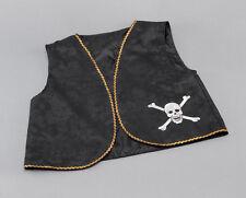 Pirata Chaleco # Envejecido Negro Con Borde Dorado Disfraz Disfraz Talla Única