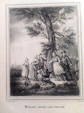 BOSSUET consola suoi diocesani Litografia orig. da UOMINI ILLUSTRI 1838 Francia