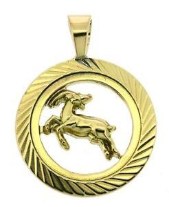 Capricorn zodiac pendant charm solid 9Carat 9ct yellow gold round horoscope sign