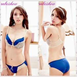 Underwire Underwear Push-up Padded Floral 32 34 36 BC Cup Everyday Bra+Panty Set