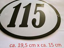 Hausnummer Oval Emaille  schwarze Nr. 115  weißer Hintergrund 19 cm x 15 cm