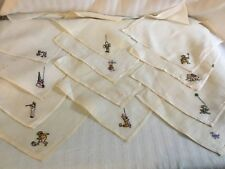 Vintage Handkerchief Childrens Embroidered Lot of 12