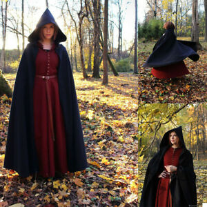 Loose Cloak with A Hood Black Robe Plus Long Cape Jacket for Halloween Unisex