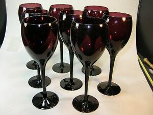 """Vintage SET of 8 Purple AMETHYST WINE GOBLETS 8 1/4"""" Tall"""