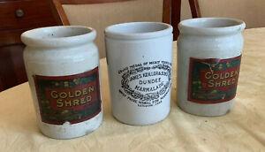 3 x Antique Stoneware Marmalade Jars James Keiller & Sons Dundee & Golden Shred