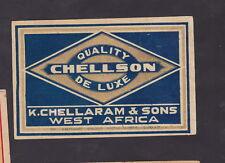 Ancienne  étiquette de paquet allumette Inde BN30158 Chellson
