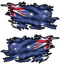 AUSSIE RIPPED FLAG LEFT AND RIGHT FACING 200MM BY 100MM