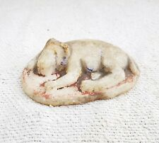 1920s Vintage Handmade & Painted Marble Stone Sleeping Lion Statue Paper Weight