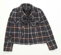 Topshop Womens Size 10 Wool Blend Tartan Grey Button Up Tie Front Jacket