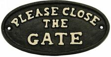 "Cast Iron Metal Rustic ""Please Close the Gate"" Plaque Sign Black"