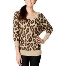 XOXO Womens Tan Leopard Print Sparkle Pullover Sweater Top Juniors M BHFO 6519