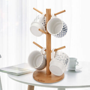 Kitchen 6 Hooks Wood Mug Rack Holder Tree Coffee Cup Storage Stand Shelf