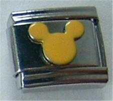 MOUSE YELLOW & SILVER ITALIAN CHARM 9MM CLASSIC DIY FOR BRACELETS RARE