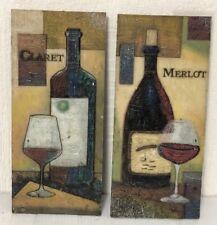 Lote de 2 placas por suedehill Giftware/vino clarete & Merlot/Pintado Efecto