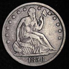 1858-O Seated Liberty Half Dollar CHOICE FINE+/VF FREE SHIPPING E290 KHB