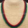 GENUINE NATURAL 3 Rows 2X4mm FACETED Emerald Ruby&Sapphire GEMS BEADS NECKLACES