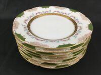 Set 8 Antique TH Haviland LIMOGE FOR J.E. CALDWELL & CO  Gilt Luncheon Plates