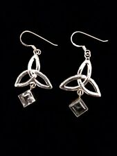 Sterling silver celtic knot earrings, with pale blue sparkly stones