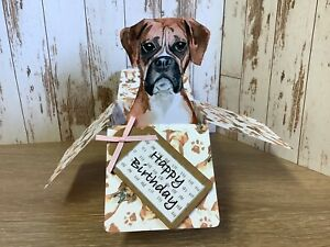 Boxer Dog Birthday Pop Up  Box Card, Handmade