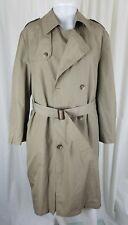 Vintage Hart Schaffner & Marx Trench Coat Wool Houndstooth Liner Mens 42S Tan