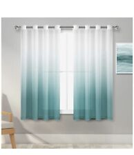 New Hiasan Faux Linen Ombre Sheer Curtains Turquoise 52w X 54l
