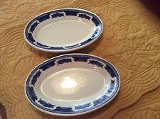 2 Vintage Homer Laughlin Best China Oval Veggie/Bread Small Plate Blue Trim USA