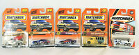 lot of 5 vintage matchbox cars on cards