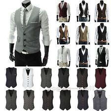 Mens Waistcoat Formal Business Suit Vest Slim Fit Wedding Casual Tuxedo Coat Top