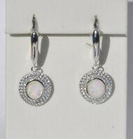 Echt 925 Sterling Silber Ohrringe m. Zirkonia Oval weiß synth. Opal Nr 259