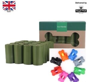 Biodegradable Dog Poo Bags Scented Extra Strong and Holder Dispenser With Clip