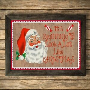Father Christmas Print Sign,Picture Wall Decor, Holiday A4 Unframed Santa