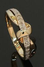 9 Carat Yellow Gold 15 Stone Diamond Set Twist Ring 0.10ct Size M (80.20.088)