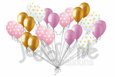24 pc Chic Pink & Gold Polka Dot Latex Balloons Party Decoration Birthday Baby