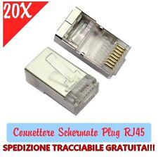 OFFERTA 20X Pezzi Connettore Schermato Plug RJ45 per Cavi di rete LAN Ethernet