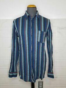 MISSONI Men's Multicoulored Long Sleeve Shirt Size 56 Optical Stripes
