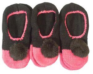 Ladies 3 pairs Slipper Socks Pom Poms Ex Retail Black Plum Bargain Deal